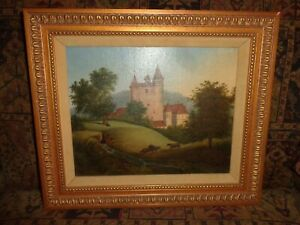 Antique European Castle with Cows Scene Oil on Canvas Painting  (j1)