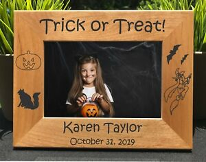 Halloween // Trick or Treat // Personalized Engraved // Picture Frame