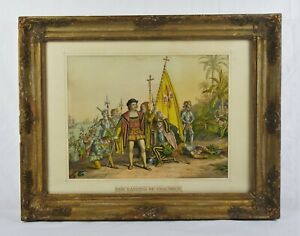 Antique 19th Century Kurz & Allison Stone Lithograph Print Landing of Columbus $40.00