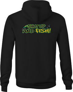 Zip Up Hoodies for Men Shut Up Fish Hooked Lure Fishing River Bass Trout