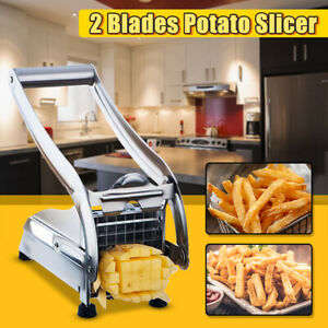 Stainless Steel French Fry Cutter 2 Blades Vegetable Potato Chopper Slicer Dicer