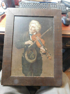 JOHN GEORGE BROWN  THE VIOLINIST 1874 CHROMOLITHOGRAPH  $185.00
