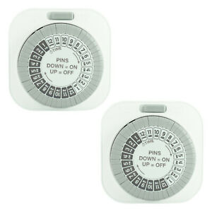 2 Pack of 24 Hour Daily Mechanical Outlet Light Timers, Automatic Hydroponics 15