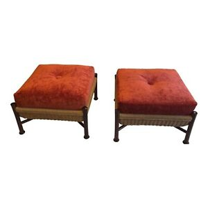 McGuire Upholstered Walnut Ottomans Designed by Bill Sofield