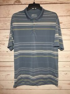 Nike Golf Fit Dry Mens Blue Gray Striped Polo Shirt Short Sleeve Size XL