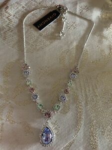 New With Tags GIVENCHY Silver Tone Crystal Y Necklace 16 3 extender $58.20