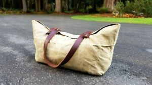 Vintage Canvas Tin Cloth Leather Handle Camp Sack Pack Utility Carry Tote 16