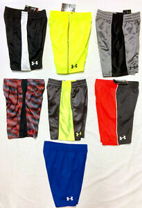 NEW Boys Under Armour Shorts Size 4 Black Gray Yellow Blue Athletic $13.99