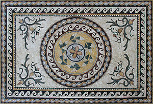 Handmade Ancient Design Carpet Roman Leaves Home Decor Marble Mosaic CR1276