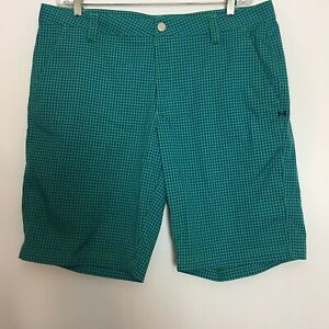 Mens Under Armour Shorts Size 38 Flat Front Chino Plaid Golf Casual Zip Pocket