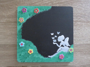 Fairy and Flowers Wood Chalkboard Sign, Wall Decoration, Room Decoration