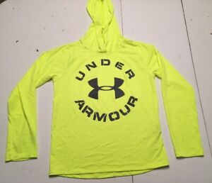 Under Armour Boys Youth Large Pullover Hoodie Neon Green Light Weight Jacket