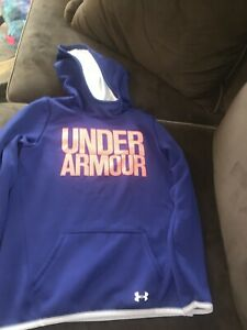 Under Armour Youth Boys Blue Orange Hoodie Loose Cold Gear Sz YL Youth Large
