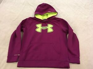 Under Armour Hoodie Youth Medium Marroon Big Logo Pullover $16.99