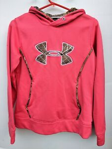 UNDER ARMOUR WOMEN'S PINK AND CAMO HOODIE SIZE SMALL AWESOME