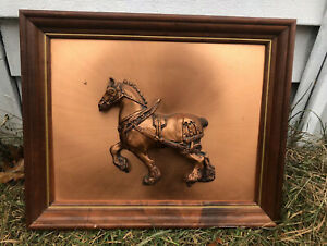 """VTG Wood Framed 3D Copper Clydesdale Horse Equestrian Art Wall Hanging 16""""X13"""""""