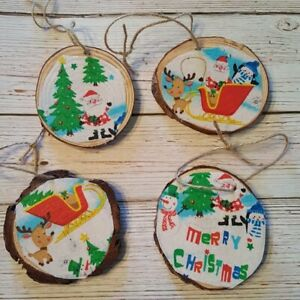 Christmas Theme Handmade Wooden Ornament Set White Hanging Tree