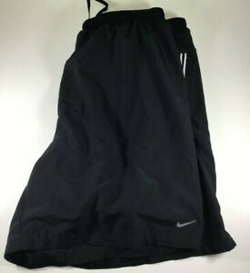 Nike Mens Running Shorts Size XL Black REFLECTIVE Ventilated Lightweight Zipper
