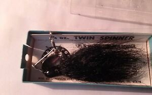 2 antique FISHING LURE  SHANNON TWIN SPINNER VINTAGE IN THE BOX BLACK   14oz