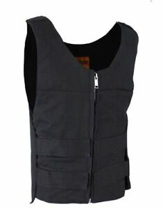 Mens Black Canvas Motorcycle Bullet Vest with Front Zipper Closure $54.95