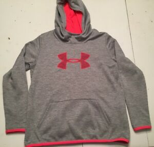 Under Armour Girls Youth XL Hoodie Pullover Gray Pink