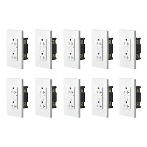 10 PK 20A GFCI Outlet Weather Resistant TR WR Wall Receptacle with Self-Test LED
