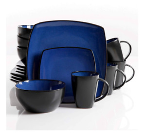 New Blue 16 Piece Dinnerware Set Plates Cups Bowls Service of 4 Dining
