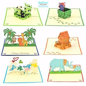 Love Pop Up Cards 6 Pcs 3D Animal Cat Dog Birthday Greeting Size open 22x18cm $18.00