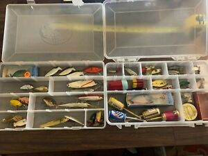 ☆ 2 TACKLE BOXES WITH OLDER SOME VINTAGE LURES  BAITS - NICE MIX SEE PICS