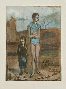 PABLO PICASSO HARLEQUIN AND BOY BLUE PERIOD VINTAGE POCHOIR LITHOGRAPH SIGNED