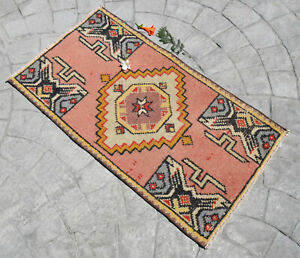 2x3 Rug Kitchen Decor Hand Made DoorMat Distressed Yastik Small Rug 1.9 x 3.2 ft