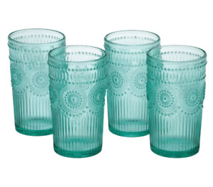 New The Pioneer Woman Drinking Glasses 16-Ounce Glass Tumbler Set of 4 Turquoise
