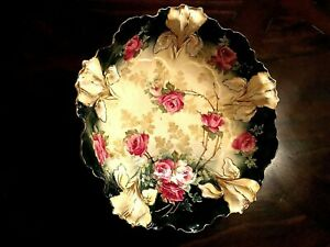 RS Prussia IRIS #25 Mold Gold RedPink Roses Bowl Hand Painted 10