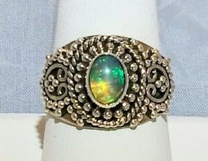 ARTISAN CRAFTED BALINESE ETHIOPIAN WELO OPAL RING OXIDIZED STERLING SILVER SZ 9