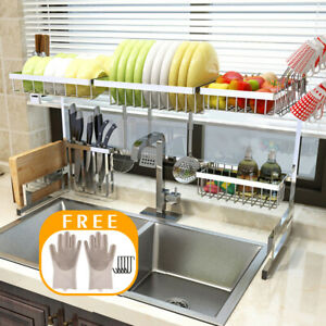 65 85CM Over Sink Dish Drying Rack Stainless Steel Kitchen Cutlery Shelf Holder