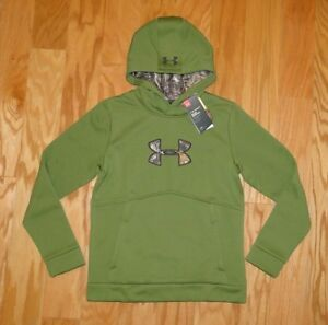 Under Armour Storm Logo Hoodie NWT Size YLG Camo Green UA Boys Fleece Cold Gear $25.00