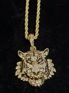 14k Gold Tiger Iced CZ Pendant 24quot; Rope Chain Necklace Lion King Hip Hop $9.99