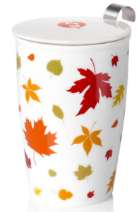 Double Wall Porcelain Cup/Mug With Stainless Steel Infuser & Lid Leaves 12 oz