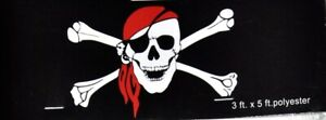 Pirate Jolly Roger Skull and Crossbones Bandana Eyepatch Flag 3x5 with Grommets