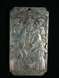 Collection Old China Tibet Silver Carving Boy God of Wealth Amulet Pendant
