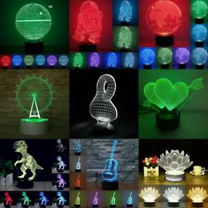 3D illusion Visual Night Lights 7 Colors Changing LED Bedroom Home Lamp Decor $7.49