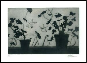 Potted PLANTS amp; Stylized BIRDS Original ETCHING Signed Ltd. Edition Art Print $35.00