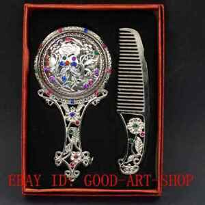 Chinese Tibet Silver Hollow Carved Rose Flower Makeup Mirror & Comb Set Gift Box