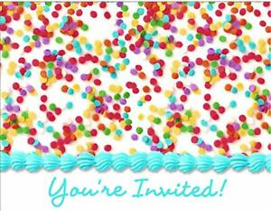 Frosted Cake Food Dessert Bright Colors Birthday Party Invitations w/Envelopes
