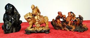 3 CHINESE SCULPTURES IN SOAP STONE CARVED. CHINA. XIX XX CENTURIES $1800.00