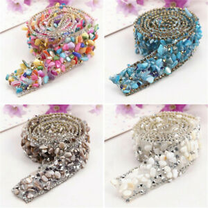 1Yard Bling Crystal Rhinestone Ribbon Wedding Dress Craft Sewing Trims Decor US