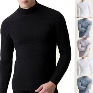 Mens Winter Warm Long Sleeve Turtleneck Jumper Undershirt High Neck Tee Tops US $13.29