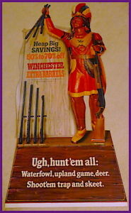 NOS Near Mint 1967 Vintage WINCHESTER GUN Old Stand-Up Cigar Store Indian Sign