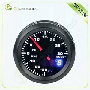 2 52mm Digital & Pointer LED Car Turbo Boost Meter 30 30 Psi Pressure Gauge
