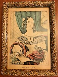 Antique Faux Marble Wood Picture Frame with N Currier Lithograph Mary Ann 15 x11 $69.99
